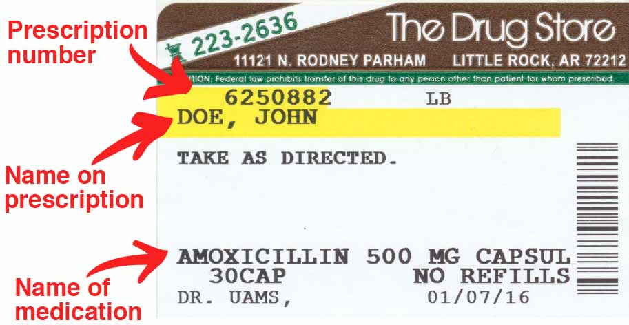 Prescription label with name, prescription number and medication name