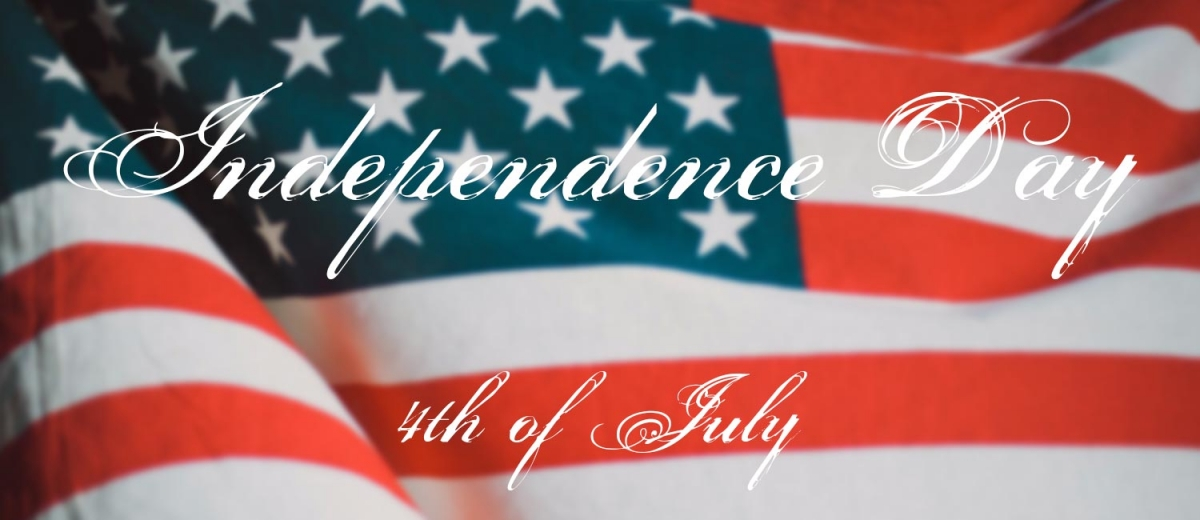 """U.S. flag with text """"Independence Day - 4th of July"""""""
