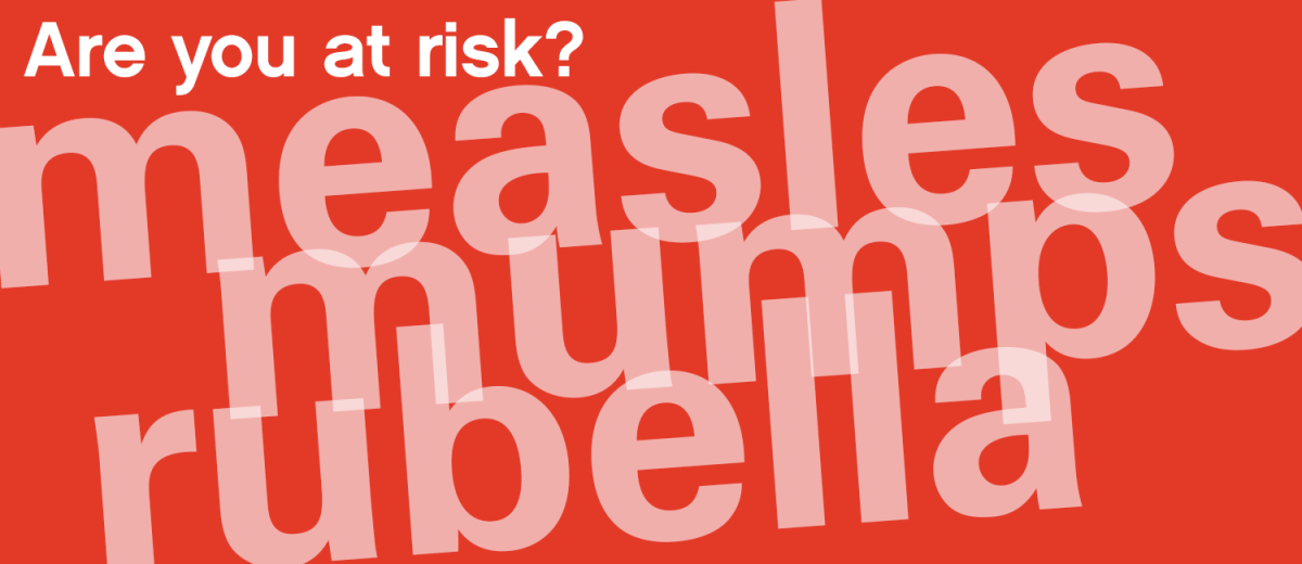 Text: Are you at risk? Measles, mumps, rubella