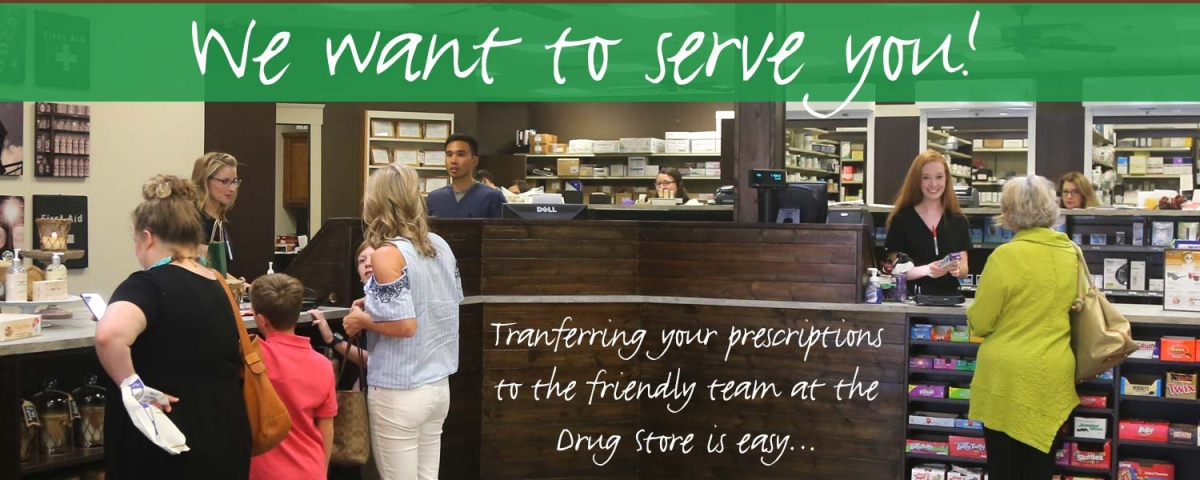 """Photo of people at store counter - text """"we want to serve you - transferring your prescriptions is easy"""""""