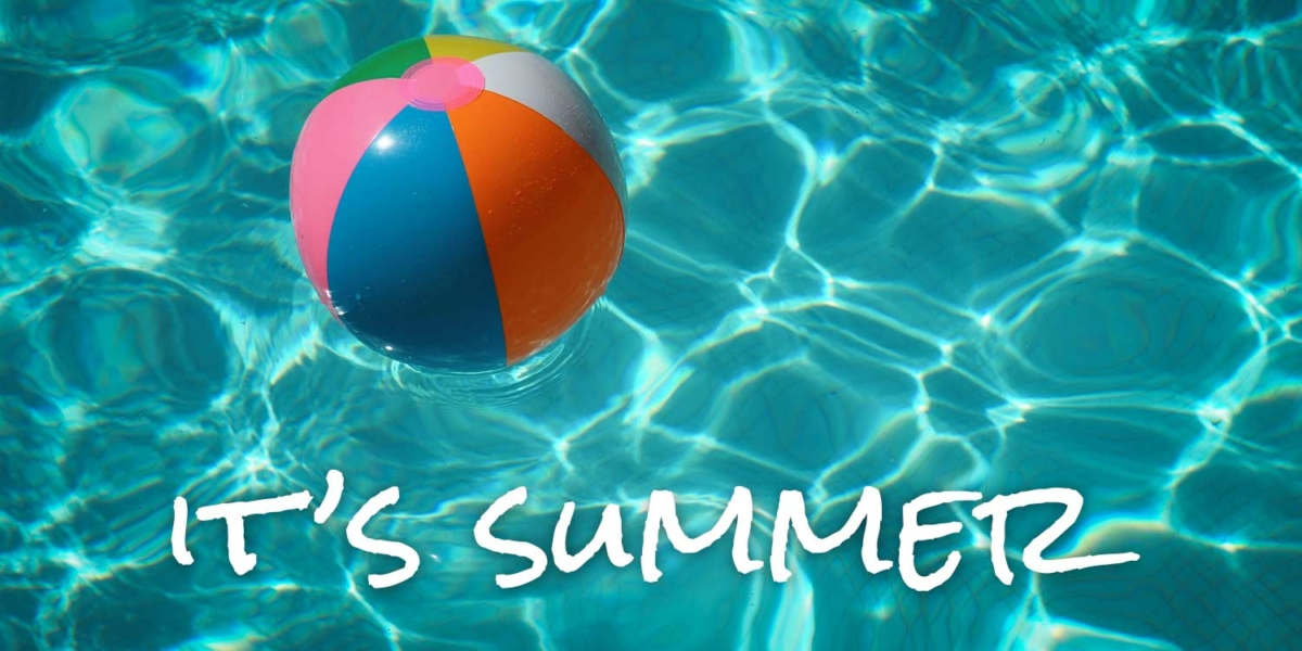 """beach ball floating in water, text """"It's summer"""""""